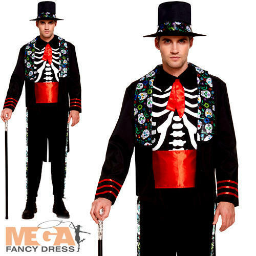 Day of the Dead Mens Halloween Fancy Dress Mexican Skeleton Suit Adults Costume