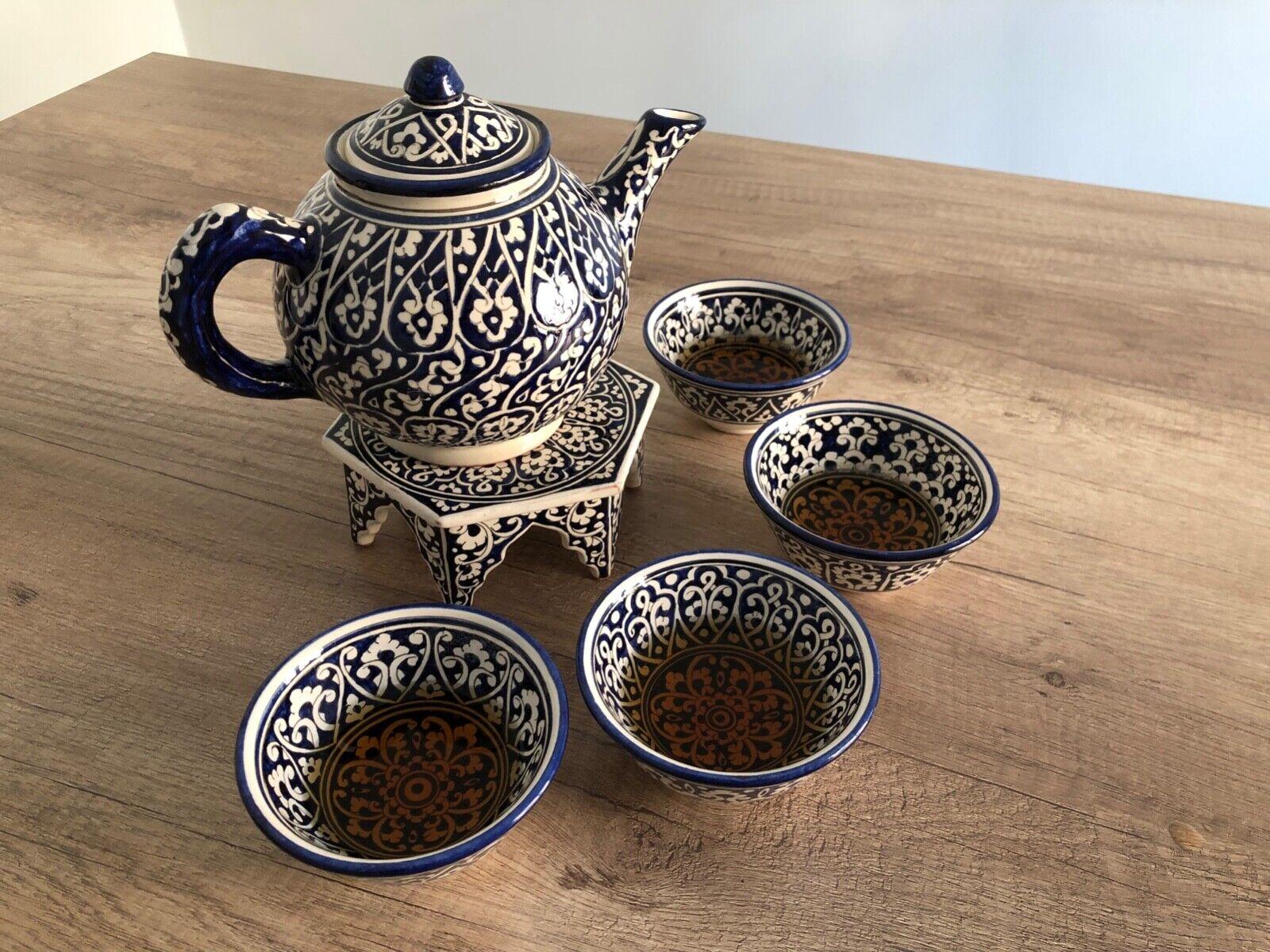 bleu Ceramic Tea Set pour 4 personnes, cadeau pour crémaillère