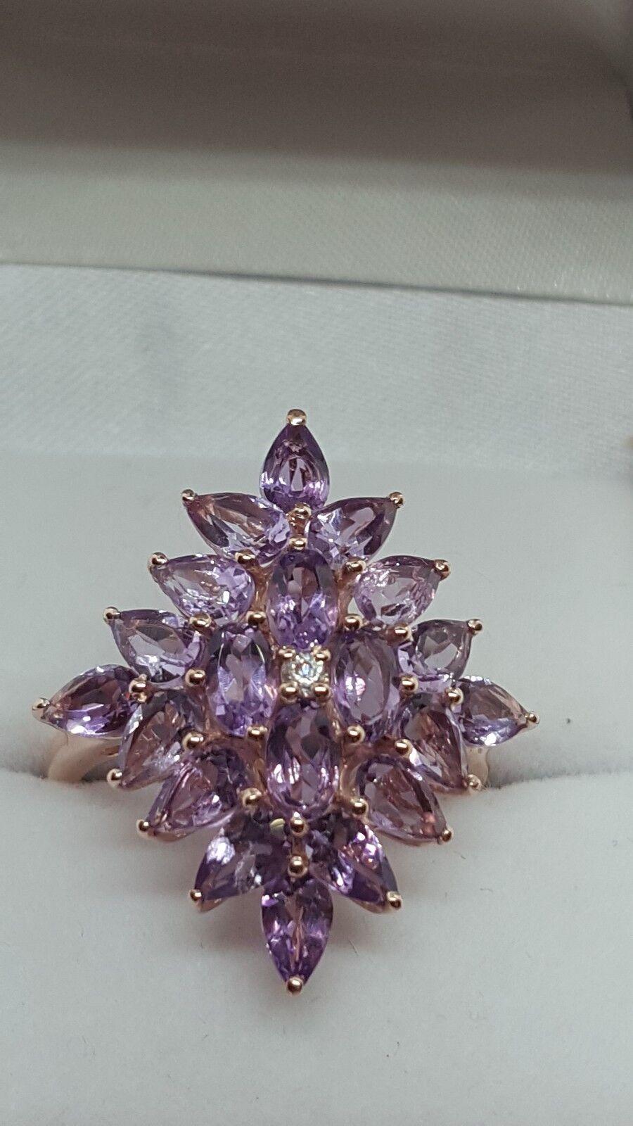Jaynes gems 4CT pink DE FRANCE AMETHYST  CLUSTER RING UK O US 7