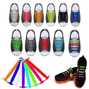 16x-Colore-sans-Cravate-Elastique-Lacets-Chaussures-Silicone-Baskets-Adulte-Kid