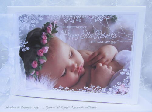 CHRISTENING PERSONALISED WITH YOUR OWN  PHOTO NAMING DAY* BAPTISM GUEST BOOK