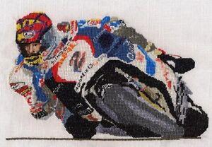 Carl Fogarty Superbike racer motorbike counted cross stitch kit//chart 14s