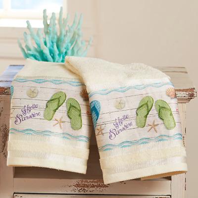 LAKE WORDS BATHROOM COLLECTION`LAKE THEMED SET OF 2 HAND TOWELS BATHROOM DECOR