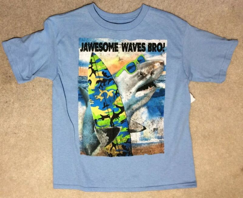 Bioworld Jawesome Waves Bro Blue Cotton Shirt - Size 6/7 - New