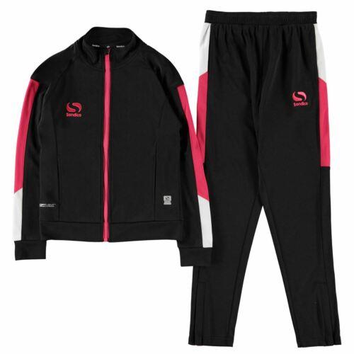 Sondico Kids Girls Strike Tracksuit Junior Long Sleeve Zip Full Drawstring