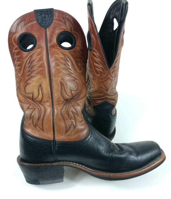 8ddaa4b9218 ARIAT Mens 9.5D Heritage Roughstock Western Cowboy Leather Boots Black Brown