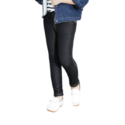 Girls Stretchy Jeggings Jeans Kids Denim Look Pants Ankle Length Age 2-14 Years