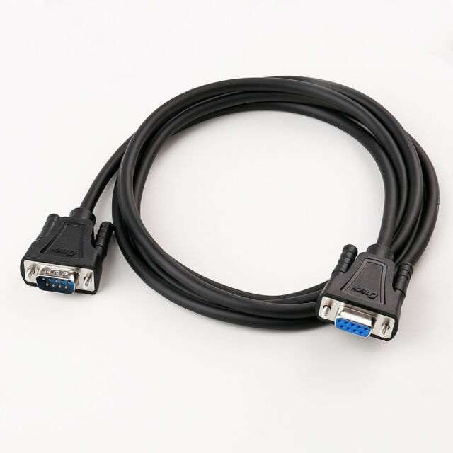 DTECH 6ft RS232 Serial Cable Extension Male to Female DB9 9 Pin Straight Through