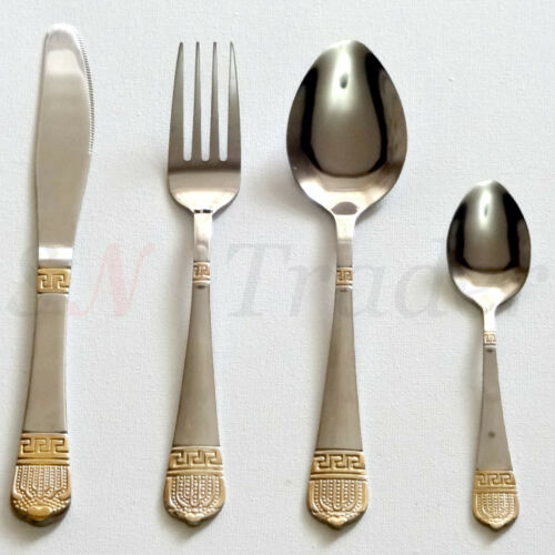 4-24 PCS Stainless Steel With Golden Border Kitchen Catering Dining Cutlery Sets