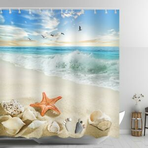 Image Is Loading Beach Themed Shower Curtain Red Starfish Ankle Stone