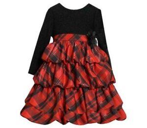 Girl plaid christmas pageant tiered ruffle dress sz 12 18 24 mo ebay