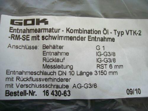 GOK Entnahmearmatur VTK für Heizöl mit schwimmender Entnahme Länge  3,15 m
