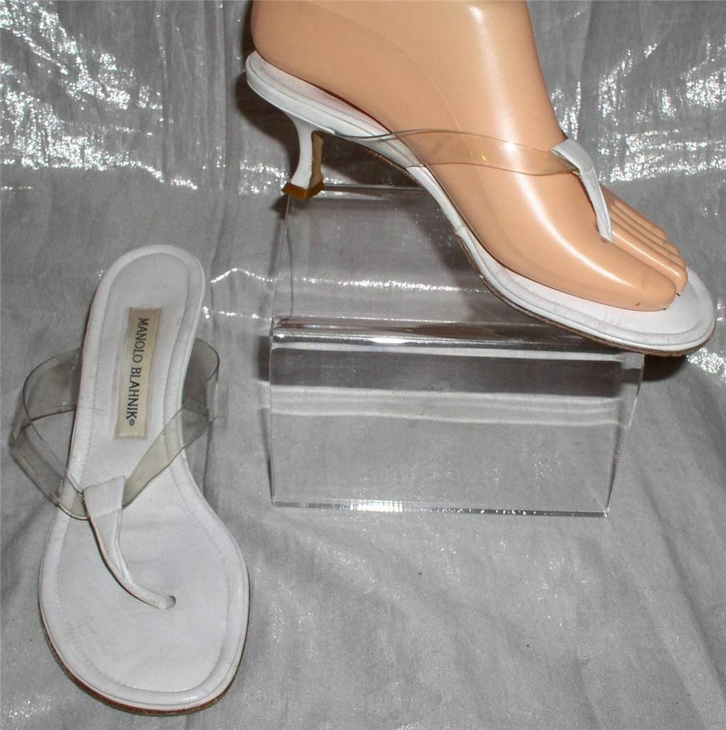 STYLISH MANOLO BLAHNIK WHITE AND CLEAR SANDALS