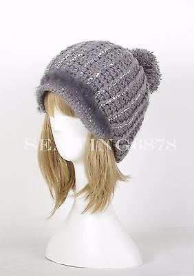 A297 Fur Rhinestone Trimmed WOMEN Cotton Knit Pom Beanie Beret WINTER Ski Hat