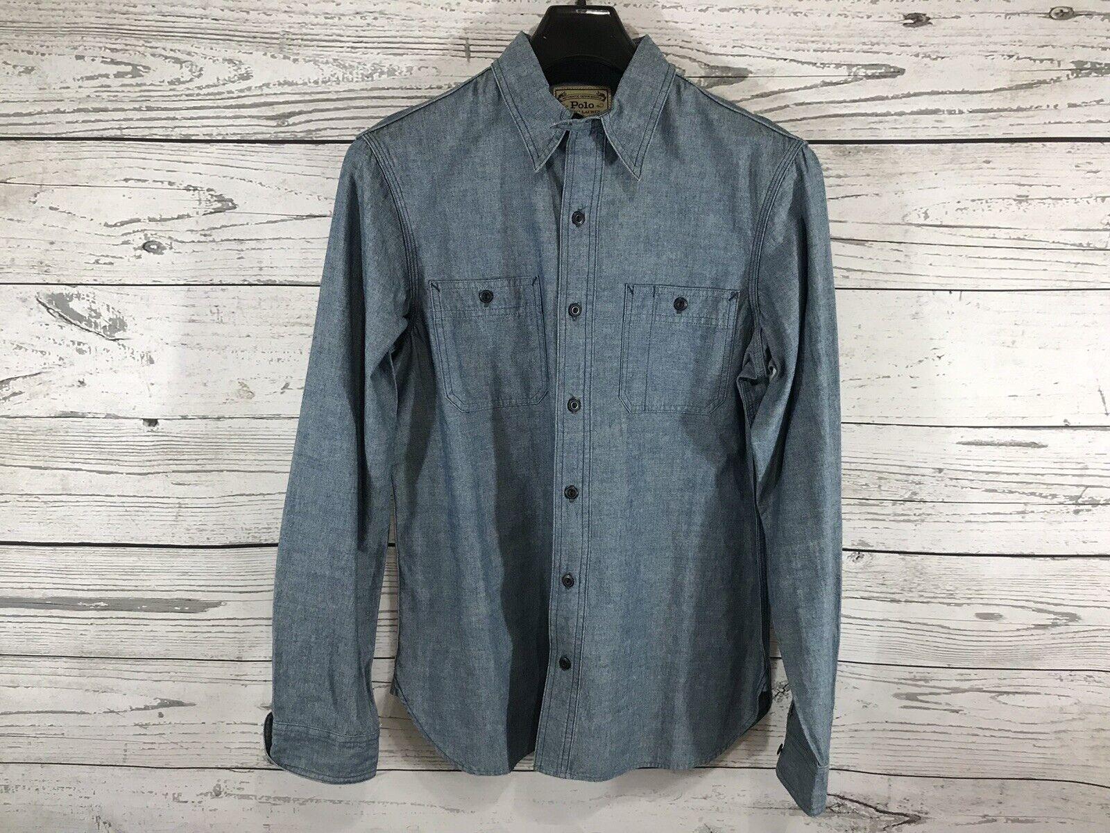 Polo Ralph Lauren bluee Mens Authentic Denim L S Button Down Shirt Sz Medium NWT