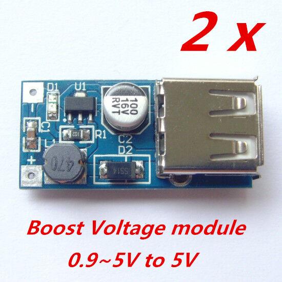 2pcs boost voltage module DC converter 1.5V 3.7V battery 0.9-5V to DC5V USB port