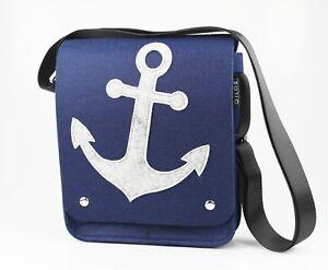 Markenqualität außergewöhnliche Auswahl an Stilen Shop für Beamte Details zu Maritime Kuriertasche Messenger-Tasche mit Anker-Motiv, Filz, in  Grau und Blau