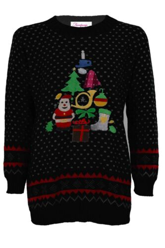 Ladies Knitted Christmas Reindeer Snow Santa Olaf Minion Women/'s T-Shirt Jumper