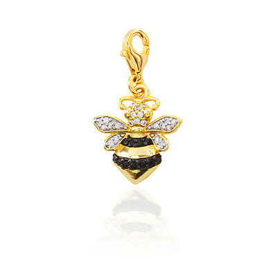Beauty Bee Charm 925 Sterling Silver Honeybee Crystal Bead for DIY Bracelet or Necklace