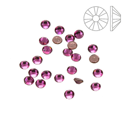 Cristales de Swarovski Hotfix Rosa reverso plano 2038 SS10 Paquete de 24 K60//12