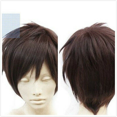 Hot New Short Straight Hair Attack on Titan Eren Jaeger Anime Cosplay Wig+Free