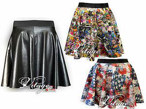 Ladies-Womens-Sexy-High-Waisted-Faux-Leather-PU-Wet-Look-Skater-Mini-Skirt-8-26