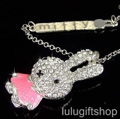 LOVELY WHITE GOLD PLATED MIFFY RABBIT PENDANT NECKLACE USE SWAROVSKI CRYSTALS