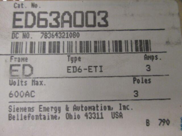 ITE Siemens ED63A003 3A 3P 600VAC/250VDC Motor Circuit Protector New Surplus