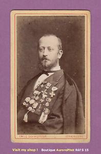 CDV-SCHWEITZER-a-STRASBOURG-HOMME-AU-BUSTE-COUVERT-DE-MEDAILLES-VERS-1880-S15