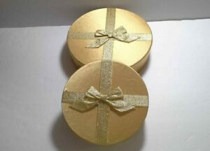 Details About Decorative Gifts Storage Boxes Gold Metallic Round Boxes With Lids
