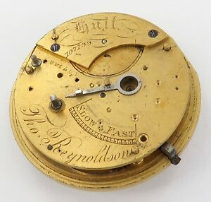 1800-s-SIGNED-ENGLISH-FUSEE-PART-POCKET-WATCH-MOVEMENT-THOMAS-REYNOLDSON-HULL