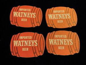 Vtg Vintage Watneys Beer Red Barrel Coaster 4pc Lot 2 sided Advertisement A1