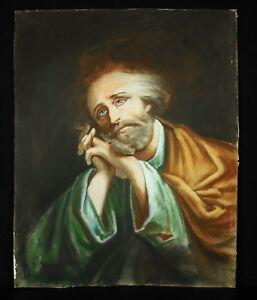 Drawing-Religious-Mystic-c1900-Figure-Christic-Man-in-Prayer-Pastel-44-CM