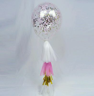 Confetti Balloon 3 x 30cm pink and gold sprinkle shredded with tassel tails