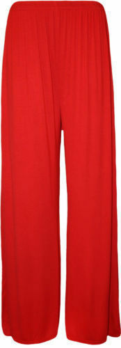 Viscose Plus Size Womens Palazzo Wide Leg Flared Ladies Stretch Trousers Pants