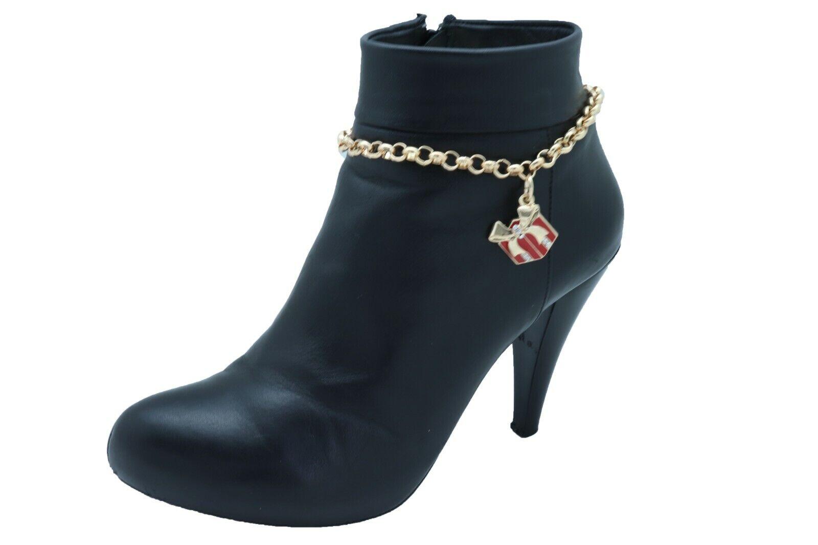 New Women Gold Metal Chain Boot Bracelet Shoe Fun Red Gift Present Charm Playful