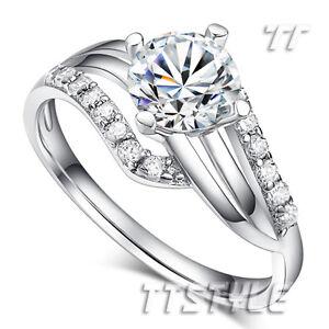 TTstyle RHODIUM 925 Sterling Silver 2 Carat Engagement Wedding Ring