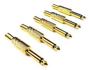 From OZ Quality 5PC Mono Male 6.35mm 1/4 Solder Connector Plug & Spring FREEPOST