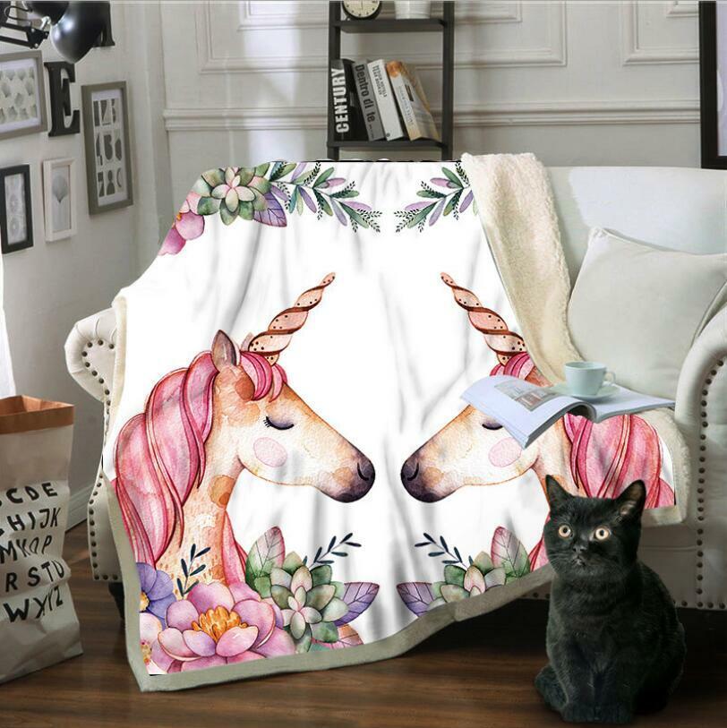 3D Pink Unicorn ZHU5767 Warm Plush Fleece Blanket Picnic Sofa Couch Quilt Bed