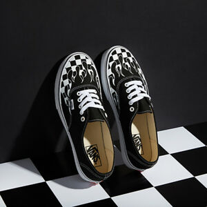 New VANS Mens Checker Flame Authentic BLACK   WHITE VN0A38EMRX8 US M ... e25c429ff