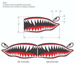 Flying-Tigers-shark-teeth-decal-sticker-5-034-t-x-12-034-w-WWII-Military-Airplane