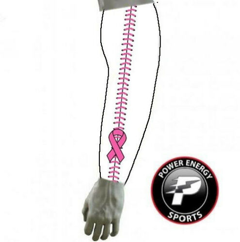Breast Cancer Sports Compression Arm Sleeve Pink Ribbon Baseball Stitch