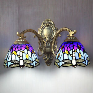 Details About New 2 Light Tiffany Style Mirror Wall Sconce Stained Gl Fixture