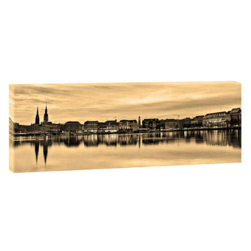 Bilder Keilrahmen Leinwand Poster  XXL 120 cm*40 cm Hamburg Alster sepia 209