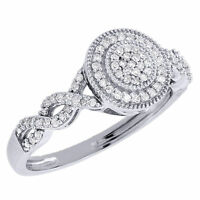 Round Diamond Infinity Engagement Ring 10k White Gold Circle Wedding Bridal on sale