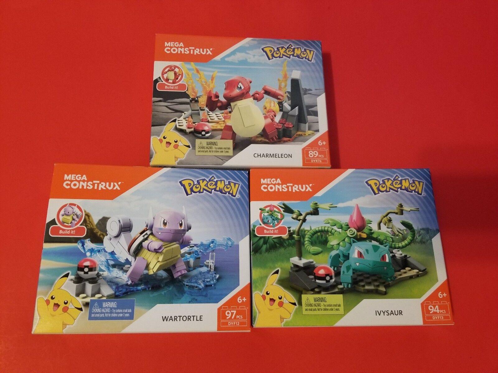 Mega Construx Pokémon Wartortle + Charmeleon + Ivysaur 3pc 3pc 3pc Set 3ec24b