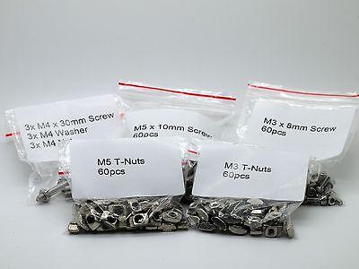 Mini Kossel Delta Rostock 3D Printer Screw Kit 2020 Extrusion 60x M3 M5 T Nuts