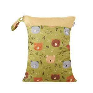 Waterproof-Double-Zip-Wet-Bag-Green-Forest-Bear-30x40cm-Medium