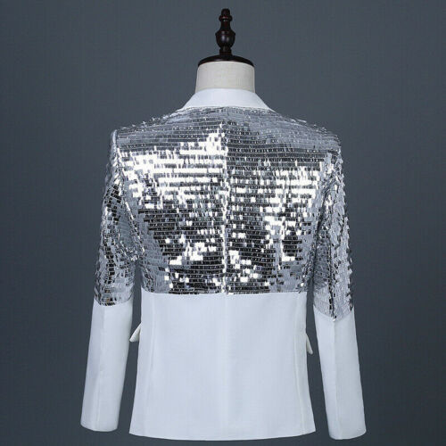 Mens Glitter Sequin Suit Jacket Notch Lapel Blazer Tuxedo Single Breasted