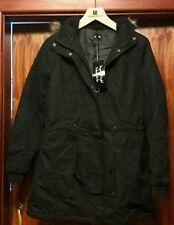 LADIES HOODED PARKA FLEECT TOP  WINTER WARM WOMENS LONG JACKET COAT UK SIZE 10